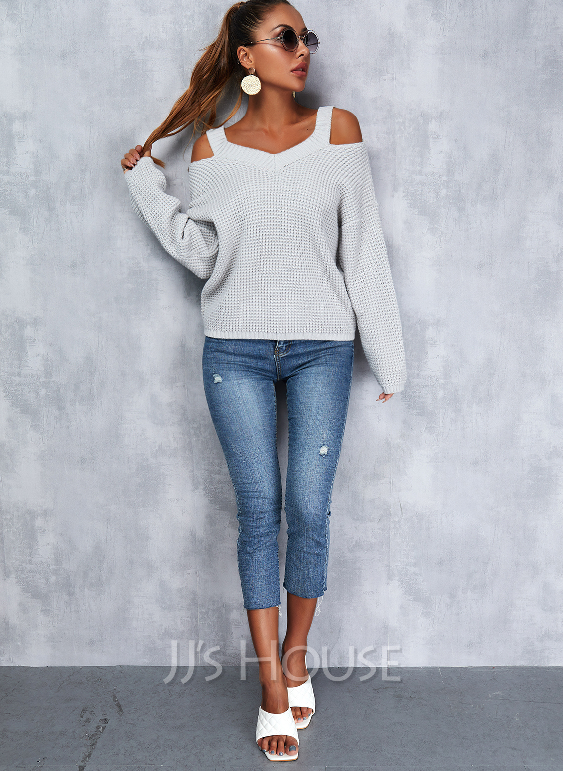 Cold Shoulder Long Sleeves Regular Solid Casual Pullovers