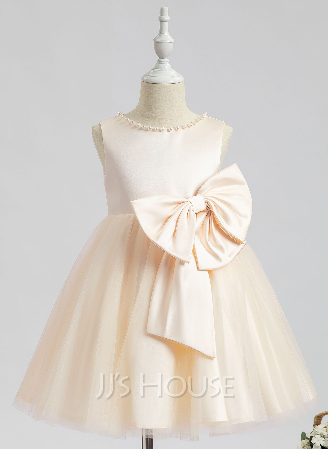 A-Line Knee-length Flower Girl Dress - Sleeveless Scalloped Neck With Beading/Bow(s)