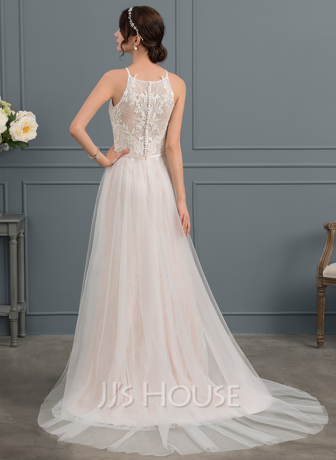 A-Line Square Neckline Chapel Train Tulle Wedding Dress With Bow(s)