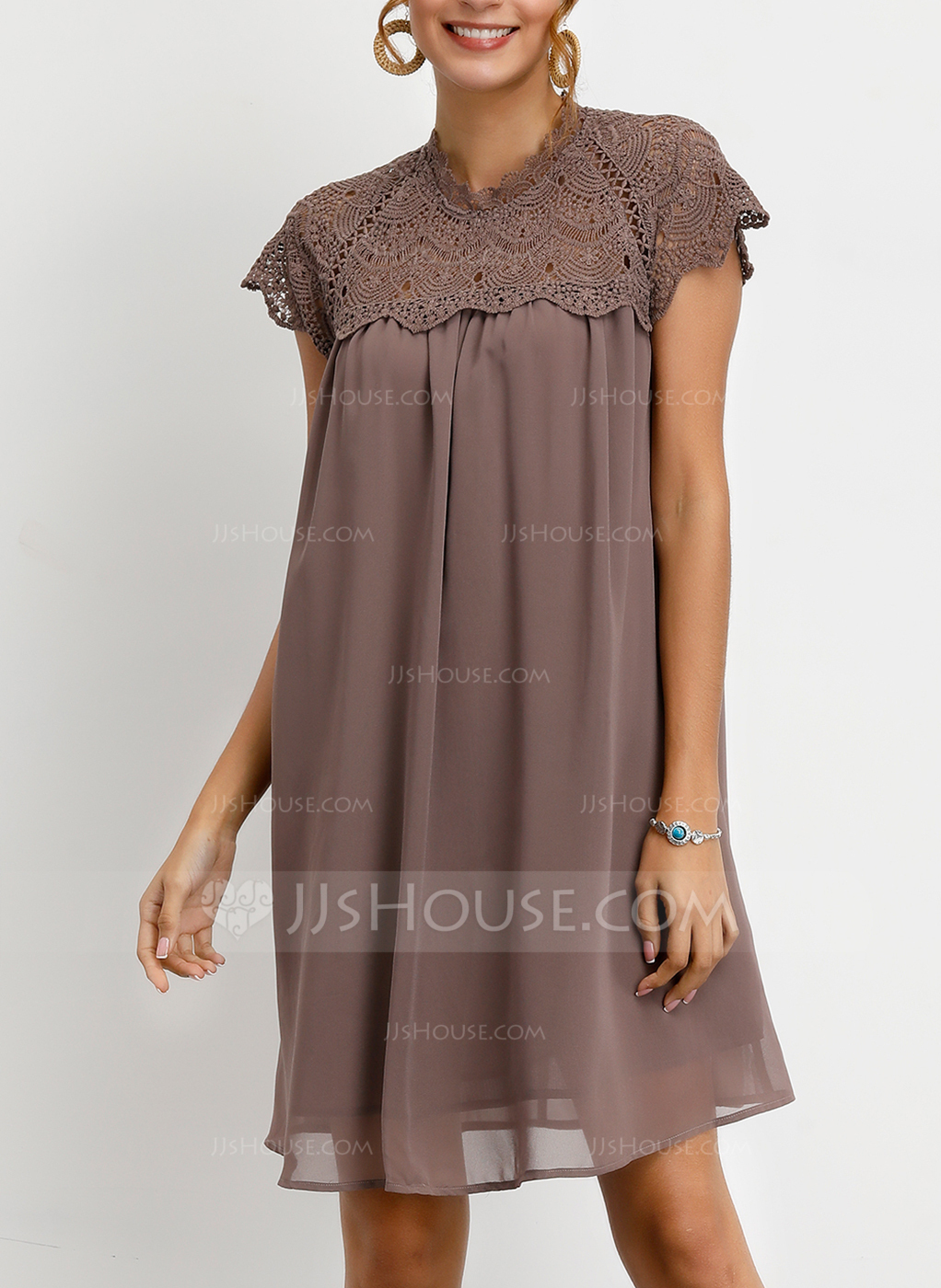 Lace With Lace/Button/Solid Knee Length Dress