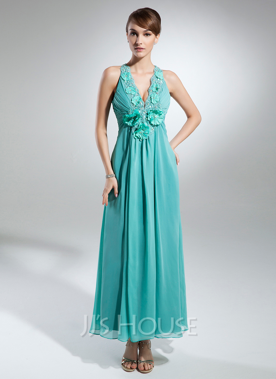 A-Line/Princess V-neck Ankle-Length Chiffon Holiday Dress With Ruffle Beading Flower(s)