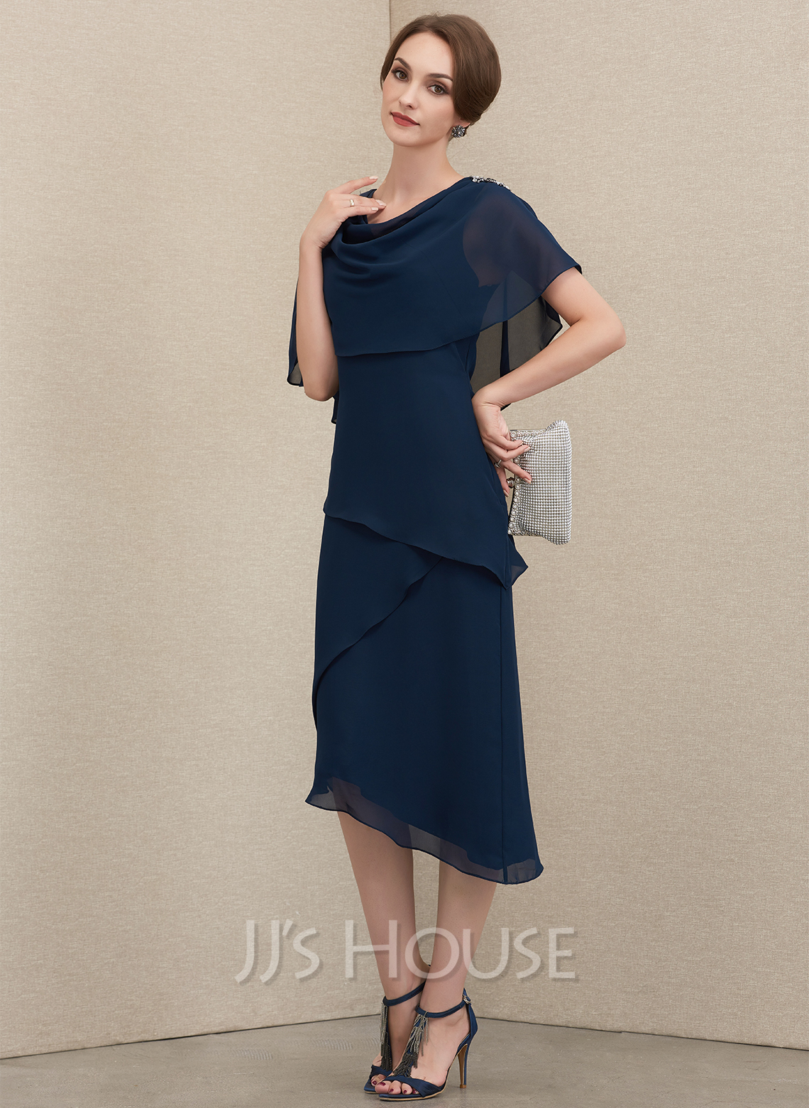 A-Line Cowl Neck Asymmetrical Chiffon Mother of the Bride Dress With Beading Sequins