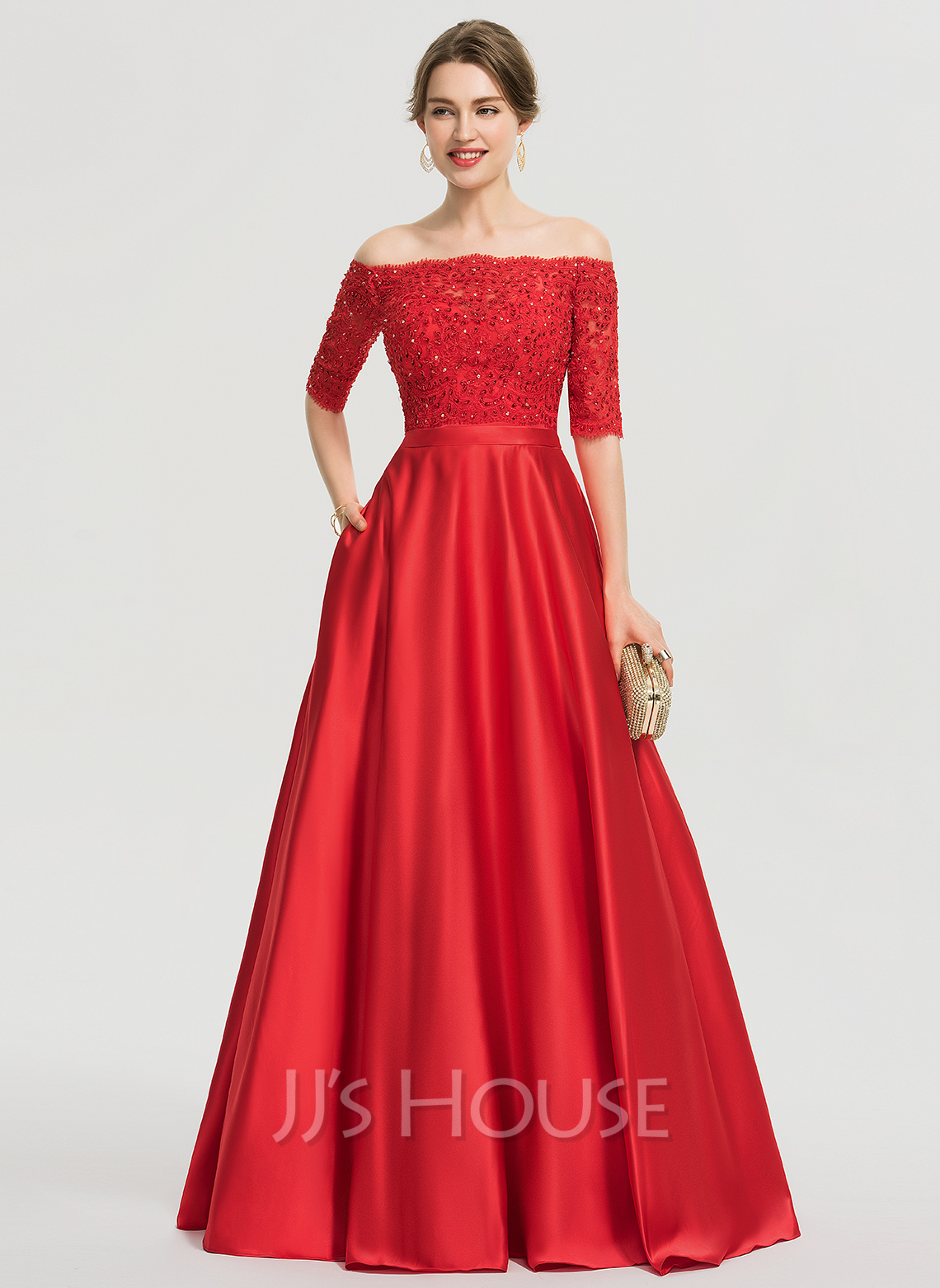 Off-the-Shoulder Floor-Length Satin Prom Dresses With Beading Sequins Pockets