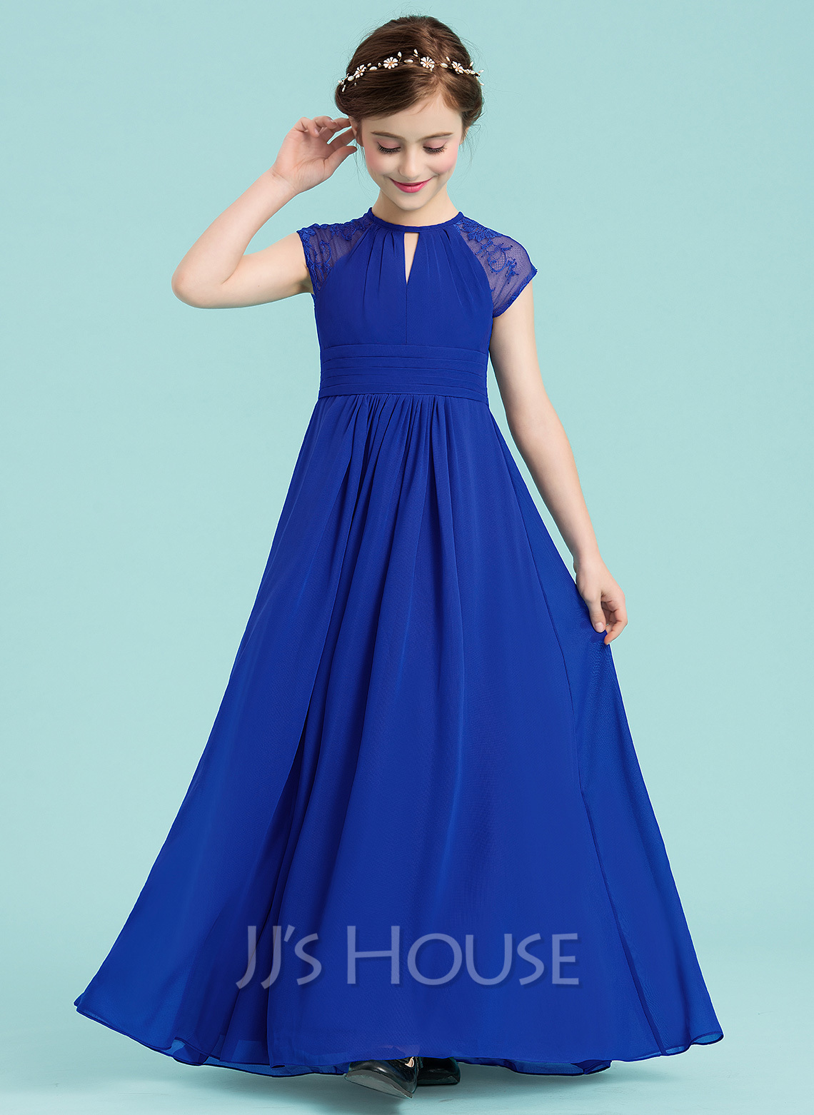 Scoop Neck Floor-Length Chiffon Junior Bridesmaid Dress With Ruffle Lace