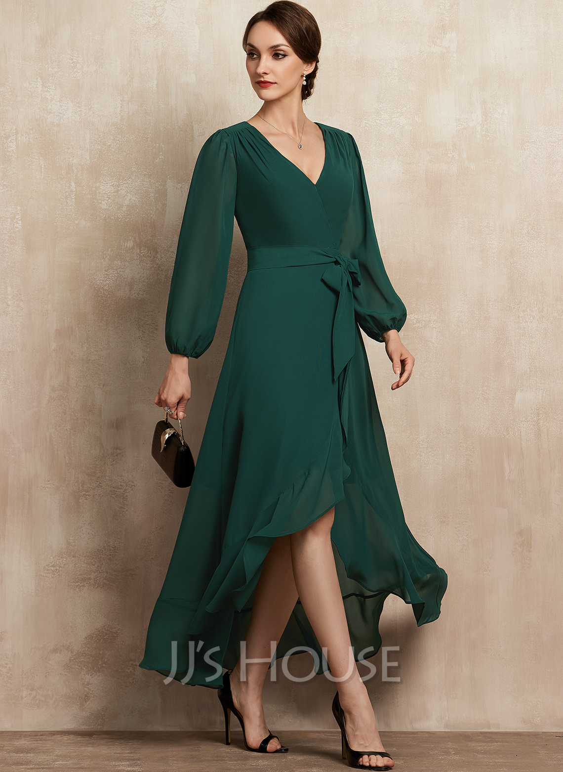 V-neck Asymmetrical Chiffon Mother of the Bride Dress With Bow(s) Cascading Ruffles