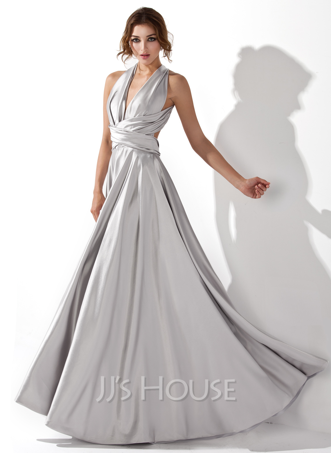 A-Line V-neck Floor-Length Charmeuse Prom Dresses With Ruffle