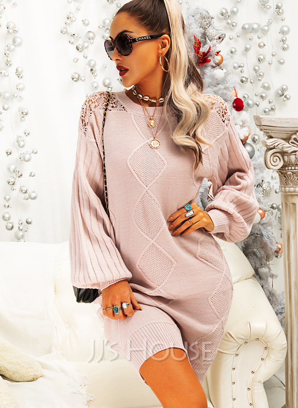 Round Neck Long Sleeves Long Solid Casual Sweater Dresses