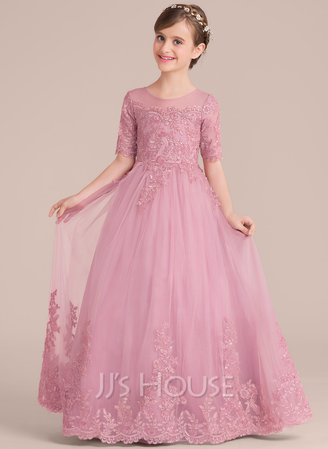 Ball Gown Floor-length Flower Girl Dress - Tulle/Lace 1/2 Sleeves ...