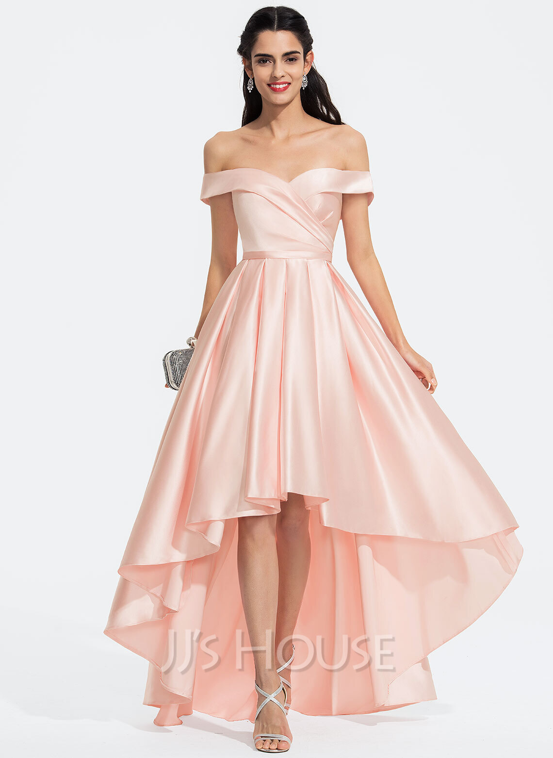 A-Line Off-the-Shoulder Asymmetrical Satin Prom Dresses With Ruffle