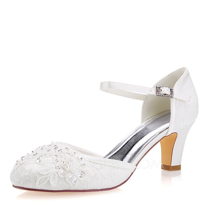 Women's Lace Silk Like Satin Stiletto Heel Closed Toe Pumps