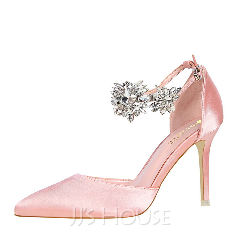 e108c91e3dd1 Women s Satin Stiletto Heel Closed Toe Pumps With Rhinestone. Loading zoom