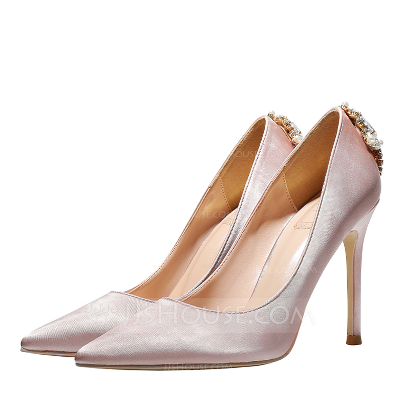 Women's Satin Stiletto Heel Closed Toe Pumps With Crystal