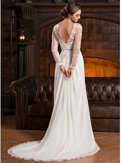 A-Line Illusion Court Train Chiffon Lace Wedding Dress With Ruffle Beading Sequins