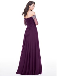 A-Line/Princess Off-the-Shoulder Floor-Length Chiffon Evening Dress With Ruffle Beading Sequins