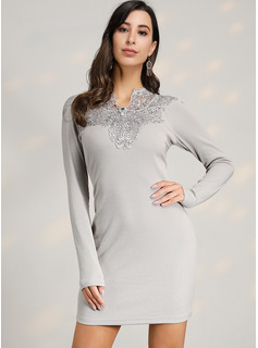 Polyester With Lace/Knitting/Solid Above Knee Dress