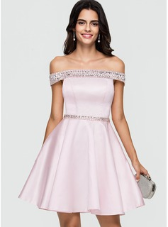 A-Line Off-the-Shoulder Short/Mini Satin Homecoming Dress With Beading Sequins