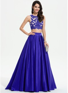 Ball-Gown/Princess Scoop Neck Sweep Train Satin Prom Dresses With Lace Sequins