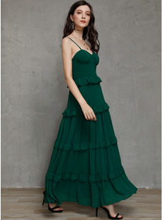 Polyester With Crumple/Ruffles/Solid Maxi Dress
