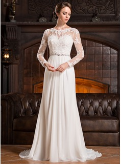 A-Line/Princess Scoop Neck Court Train Chiffon Lace Wedding Dress With Ruffle Beading Sequins