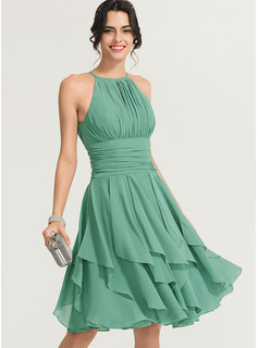 Scoop Neck Knee-Length Chiffon Cocktail Dress With Ruffle Cascading Ruffles