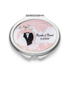 Bride Gifts - Personalized Elegant Stainless Steel Compact Mirror