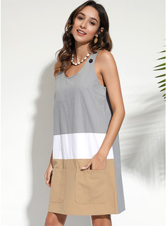 Cotton With Color-block Knee Length Dress