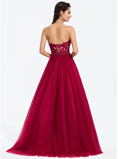 Ball-Gown/Princess Sweetheart Sweep Train Tulle Prom Dresses With Beading Sequins