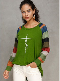 Long Sleeves Cotton Polyester Round Neck Knit Blouses