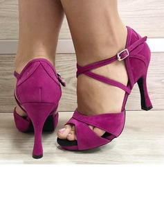 Women's Suede Heels Latin Dance Shoes