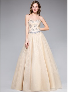 A-Line/Princess Sweetheart Floor-Length Organza Lace Prom Dresses With Beading Sequins