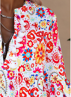 Floral Print Shift V-Neck 3/4 Sleeves Flare Sleeve Midi Boho Casual Vacation Tunic Dresses