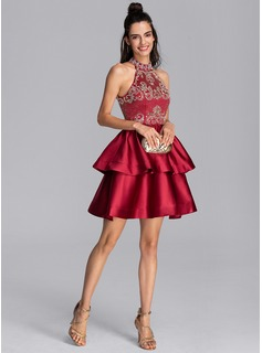A-Line High Neck Short/Mini Satin Homecoming Dress With Beading Sequins