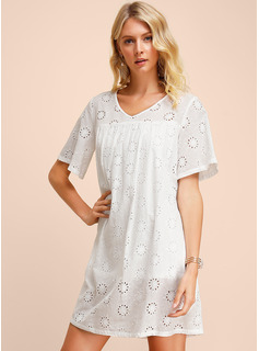 Cotton With Lace/Hollow/Solid Knee Length Dress