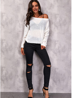 Round Neck Long Sleeves Regular Solid Casual Pullovers