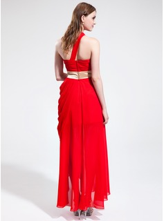 A-Line/Princess One-Shoulder Asymmetrical Chiffon Holiday Dress With Ruffle Sash Split Front