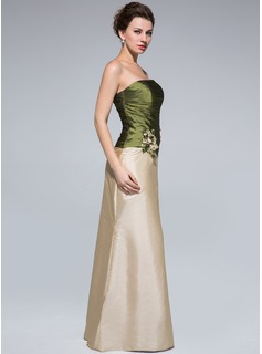 Sheath/Column Strapless Floor-Length Taffeta Mother of the Bride Dress With Ruffle Beading Flower(s)