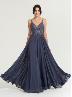 V-neck Floor-Length Chiffon Prom Dresses With Beading