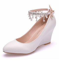 Women's Leatherette Wedge Heel Wedges With Imitation Pearl Tassel