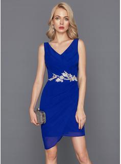 Sheath/Column V-neck Short/Mini Chiffon Cocktail Dress With Lace Beading Sequins