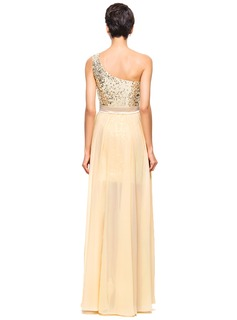 A-Line/Princess One-Shoulder Asymmetrical Chiffon Sequined Prom Dresses