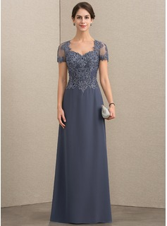 A-Line Sweetheart Floor-Length Chiffon Lace Mother of the Bride Dress With Beading Sequins