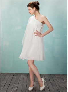 Sheath/Column One-Shoulder Knee-Length Chiffon Homecoming Dress