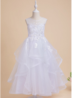 Ball-Gown/Princess Ankle-length Flower Girl Dress - Sleeveless Scalloped Neck With Beading/Sequins