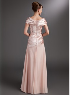 A-Line/Princess Off-the-Shoulder Floor-Length Chiffon Charmeuse Mother of the Bride Dress With Ruffle Beading Flower(s)