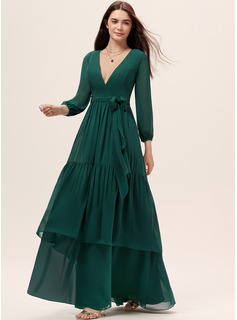 A-Line V-neck Floor-Length Chiffon Bridesmaid Dress With Sash Cascading Ruffles