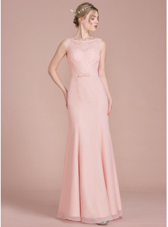 Trumpet/Mermaid Scoop Neck Floor-Length Chiffon Evening Dress With Bow(s)