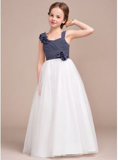Sweetheart Floor-Length Chiffon Tulle Junior Bridesmaid Dress