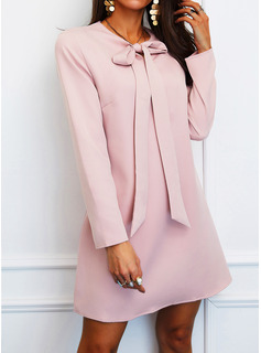 Solid Shift Butterfly Collar Long Sleeves Midi Elegant Tunic Dresses