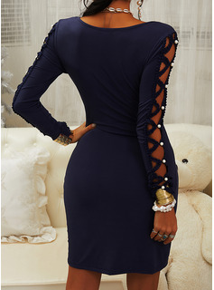 Solid Bodycon V-Neck Long Sleeves Midi Casual Dresses