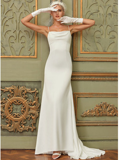 Trumpet/Mermaid Cowl Neck Sweep Train Satin Wedding Dress
